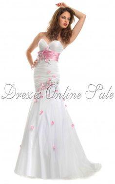 Trendy Mermaid Floor-length Sweetheart White Chiffon Dress