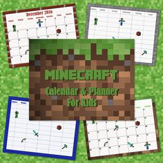 Free Minecraft Calendar and Planner Pages for Kids 2016-17