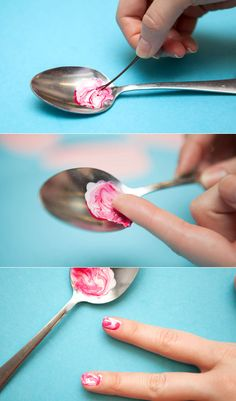 Pour drops of nail polish into the spoon, and swirl them together with a bobby pin. After you've created a design you like, let the polish slide to the edge of the spoon by tilting the handle. Align the bottom of your nail bed along the edge spoon, and roll your nail on top of the paint. Clean up the messy edges to finish the look.