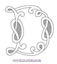 Free Hand Embroidery Pattern: Monogram for hand embroidery - a Celtic D