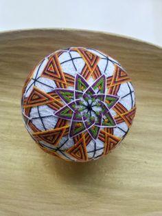 Flower and Geometric Patterned Japanese Temari by TomyresTemari, $115.00