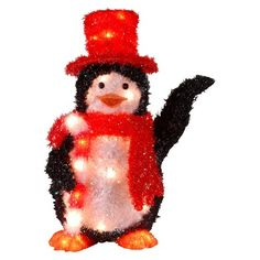 "22"" Tinsel Penguin with Candy Cane with 35 Clear Indoor/Outdoor Lights : Target"