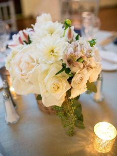 Featured Photographer: Mike Larson Photography; Wedding reception centerpiece idea.