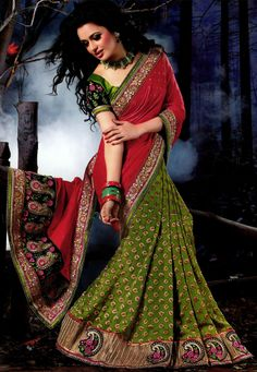 Red and Green Art Silk and Faux Georgette Saree with Blouse Online Shopping: STH15