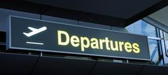 airport departure sign with airplane pictogram design