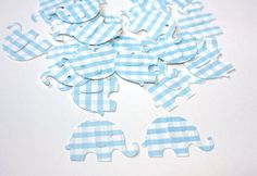 50 Blue Gingham Elephant Confetti, Die Cut Elephants, Baby Boy Birthday, Boy Baby Shower Decor, Blue Elephant, Table Decor, Gingham