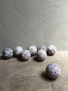 Houten bol bal ballen bollen vergrijsd whitewash decoratie landelijk stoer brocant