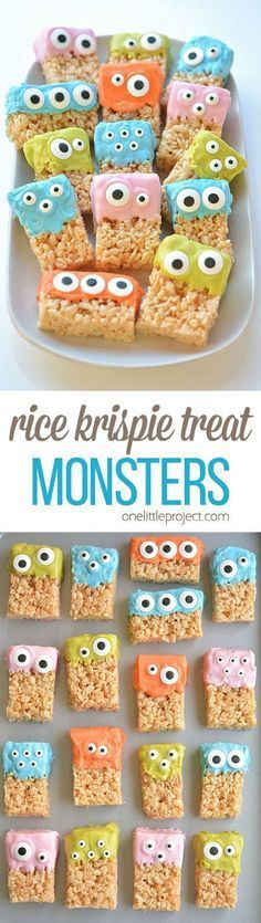 Halloween Müsliriegel These Rice Krispie Treat Monsters are SO EASY and they're completely adorable! They're awesome for a Halloween party or even a monster birthday party! Halloween Desserts, Hallowen Food, Halloween Goodies, Halloween Food For Party, Halloween Birthday, Holidays Halloween, Halloween Baking, Halloween Decorations, Halloween Stuff