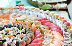 Freshen up wedding food with a gorgeous display of hand rolls and nigiri.