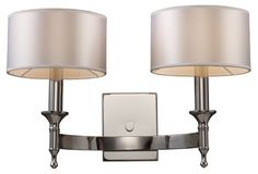 Pembroke 2-Light Sconce, Nickel.  Oh I like these.