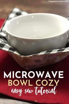 Want an easy way to make your microwave bowl cozy? This easy-sew tutorial shows you exactly how to step by step! No more burnt fingers as well as no more cold hands when eating ice cream. Learn how to make this super easy yet practical Microwave Bowl Cozy and never burn yourself again. This makes for a great beginner sewing project. Microwave Bowl Cozy Easy Sew Tutorial.