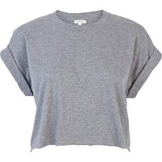 Grey short sleeve boxy cropped t-shirt - tops - sale - women
