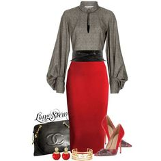 A fashion look from December 2013 featuring Yves Saint Laurent blouses, Jean-Michel Cazabat pumps y Chanel tote bags. Browse and shop related looks. Classy Outfits, Chic Outfits, Fashion Outfits, Womens Fashion, Fashion Trends, Work Fashion, Fashion Looks, Fashion Design, Modelos Fashion