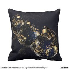 Golden Christmas Balls in Dark Background Square Throw PillowDecorate your home this Christmas with our beautiful golden Christmas balls in dark patterned background Christmas inspired square throw pillow. Perfect holiday gift for family or friends #merryChristmas  #golden #ChristmasBalls