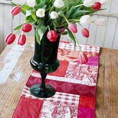 Patchwork Idea : Give tattered or stained tea towels, napkins, or tablecloths new life with this easy sewing project. Fabric scraps of all sizes and patterns stitch up into a stunning table runner. The secret to making patchwork look this elegant is to use only one color palette. :: Quilting with scraps is always a good idea.