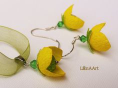 Yellow Flowers jewelry  pendant and silver hooks by LanAArt
