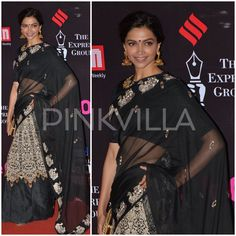 For the Screen Awards 2015, Deepika Padukone ditched formal gowns and instead opted to wear a saree. The actress looked gorgeous in a monochrome embroidered saree from Jade by Monica and Karishma.