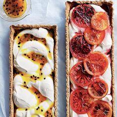 Passionfruit & blood orange ricotta tarts