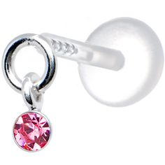 Silver 925 Pink Solitaire Dangling CZ Tragus Earring | Body Candy Body Jewelry
