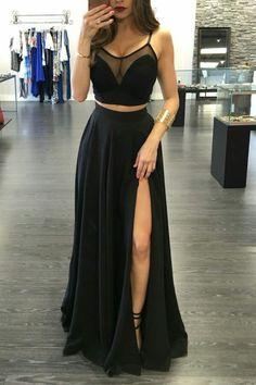 Black Prom Dresses,Two Piece Prom Dress slit,Sexy Prom Dress,Long Prom Dress - Wishingdress Two Piece Evening Dresses, Prom Dresses Two Piece, Prom Dresses 2018, Black Prom Dresses, Two Piece Dress, Cheap Prom Dresses, Prom Party Dresses, Sexy Dresses, Beautiful Dresses