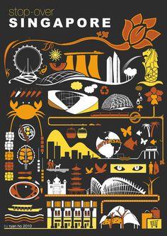 Singapore Iconography by Ryan Ho, via Behance