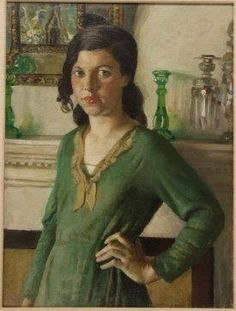 A Study in Greens by Harold Harvey (1874-1941)