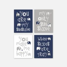Baby Boy CANVAS Art Elephant Family Navy Gray by YassisPlace