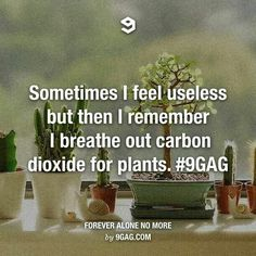 Sometimes I feel useless, but then I remember I breathe out carbon dioxide for plants.