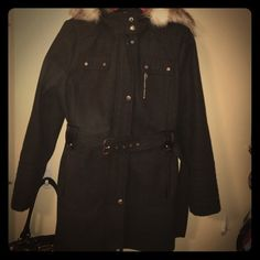 Laundry by design Heavy winter coat with faux fur lined hood. Size XL. Very comfy- pre loved, dry cleaned but the faux fur sheds a bit- will need a lint rolled over the hood area prior to wearing. Laundry by Shelli Segal Jackets & Coats