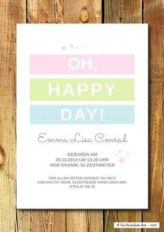 Süße Geschenkidee zur Geburt oder Taufe ... Druck/Print:+Oh,+happy+day!+-+Baby/Taufe/Geburt+von+Die+Persönliche+Note+auf+DaWanda.com