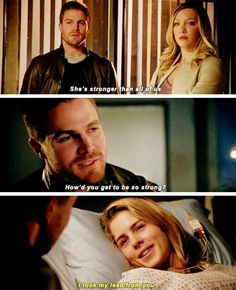 """She's stronger than all of us"" - Oliver, Laurel and Felicity #Arrow"