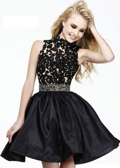 Black Lace Short Belted Cocktail Dress With High Neck