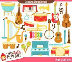 This is a collection of musical instrument clipart featuring: 27 graphics in color, 27 in black and white (54 graphics in total) 300 DPI files (nice crisp printing!) PNGs (PNG files have transparent backgrounds)************************************************************************Share links to projects and products you make with this clip art on our website!