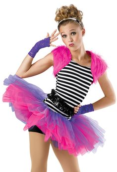 Striped Biketard with Tutu; Weissman Costumes. Love the idea of this type of tutu for a jazz or hip hop style