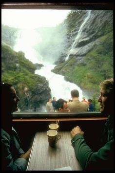 Tea on the train, with a waterfall view