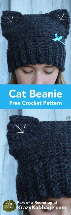 Cat Crazy Free Crochet Patterns – Krazykabbage #crochet #freepattern #cat #craft #homemade #hat #handmade #pets #kitty