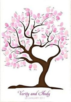 Wedding Finger Print Tree Guest Book on Canvas