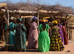 Herero tribe fashion of Namibia. late century German fashion meets African prints and color palettes. Victorian Era Fashion, Victorian Women, German Fashion, European Fashion, African Tribes, African Women, Traditional Fashion, Traditional Dresses, African Inspired Fashion