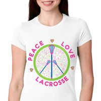Peace Love Lacrosse (Flowers) Fitted T-shirt exclusively from LuLaLax.com!