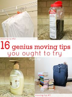 16 creative ways to simplify packing & moving. re-Pinned by Suzanna. For more organizing tips, articles and ideas visit www.ASpaceThatWorks.com/blog or follow atwww.facebook.com/SuzannaHomeOrganizer
