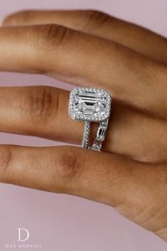Diamond Engagement Rings AVA, seamless halo engagement ring with a carat emerald cut diamond and HALLE wedding band. Wedding Rings Simple, Wedding Rings Solitaire, Beautiful Wedding Rings, Beautiful Engagement Rings, Wedding Rings Vintage, Halo Engagement Rings, Wedding Jewelry, Bridal Rings, Solitaire Diamond