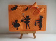 Kit carte Halloween scène silhouette enfants allant chercher des bonbons à réaliser vous même
