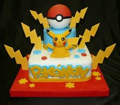 Cute Pokemon themed cake will definitely be loved by all kids. Prepare your own cake with pokemon themed cake decorations. Pokemon Birthday Cake, Cupcake Birthday Cake, Pokemon Torte, Pokemon Cakes, Cupcakes, Cupcake Cakes, Pikachu Cake, Funny Wedding Cakes, Boy Birthday Parties