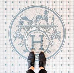 Floor Design, Tile Design, House Design, Bathroom Floor Tiles, Tile Floor, Rue De Sevres, Hermes Store, Saint Laurent Store, Mosaic Tiles