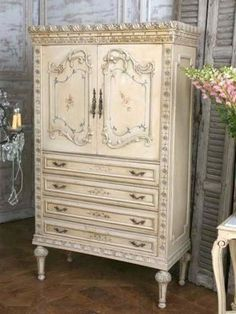 Antique Shabby French Armoire in original warm golden-butter finish.