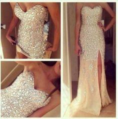 dress nude, gold, diamond, glitter, long dress, slit, grad dress glitter dress gorgeous white dress bling