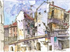 Love the whimsical look of this.  Inspiration: Singapore Urban Sketchers