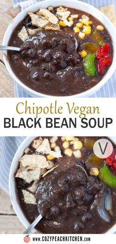 This easy chipotle vegan black bean soup can be made in the Instant Pot or slow cooker. It's a great vegan meal prep recipe that's loaded with nutrients and bursting with flavor! Vegetarian Black Bean Soup, Vegetarian Comfort Food, Vegetarian Cooking, Vegan Food, Easy Bean Recipes, Vegan Recipes, Pressure Cooker Baked Beans, Peach Kitchen, Best Instant Pot Recipe