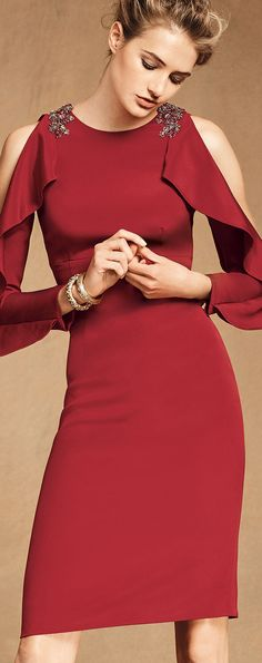 David Meister Split Long Sleeve Cocktail Dress