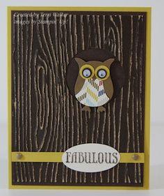 card ideas:   Woodgrain background with little Owl